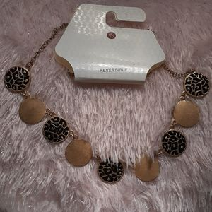 Leopard print with gold (reversible necklace)